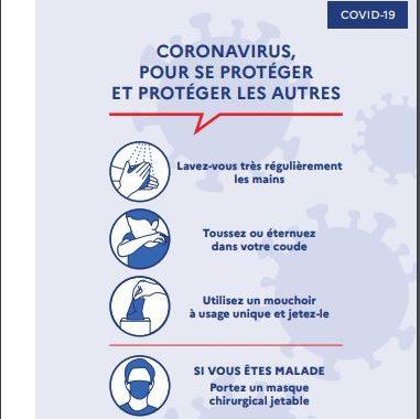 Consignes sanitaires: Coronavirus COVID-19